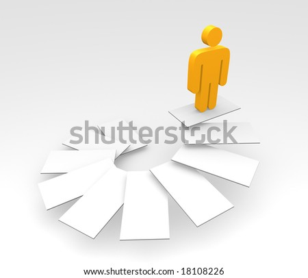 an orange male pictogram standing at the top step of a staircase - stock photo