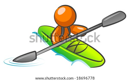 An orange man kayaking in the water.