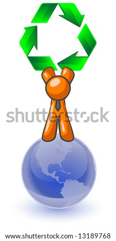 An orange man standing on top of the earth holding a large recycling symbol. Good concept for environmental earth preservation. - stock photo