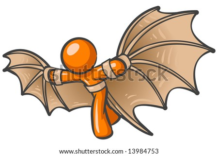 An orange man using a flying contraption he invented, in the style of old da vinci type drawings. - stock photo