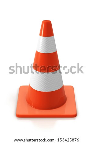 An orange road hazard cone, isolated on a white background - stock photo