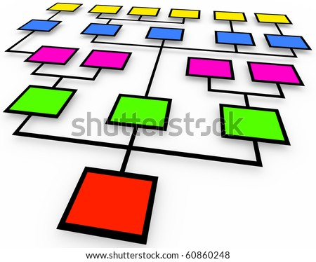 An organizational chart of colored boxes on white background - stock photo