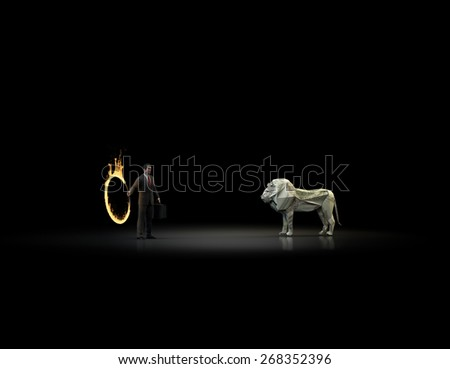 An origami lion made out of a dollar banknote and a businessman holding a burning hoop - banking and finance concept - stock photo