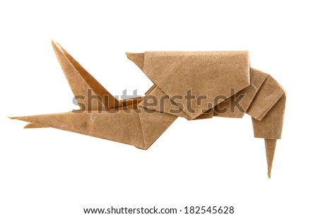 An Origami Lobster Isolated White