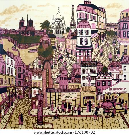 An original abstract painting of Parisian street scenes, Paris, France. - stock photo