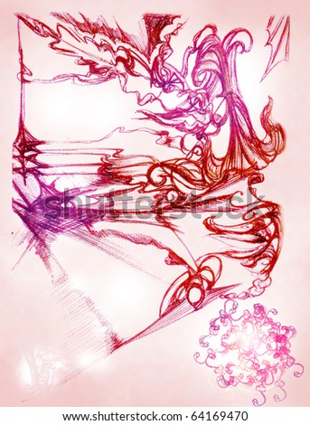 An original background is the drawn elements of decorative pattern on a background a pink paper - stock photo