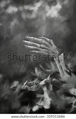 An original black and white photograph of a skeletal arm coming out of fallen leaves transformed into a painting