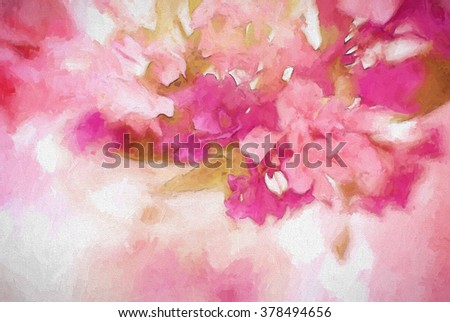 An original closeup photograph of colorful wildflowers transformed into a pink toned abstract digital painting