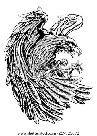 An original eagle illustration  in a vintage wood cut style - stock photo