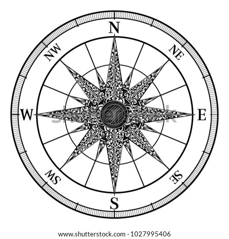An original illustration of a map compass rose in a vintage retro woodcut style
