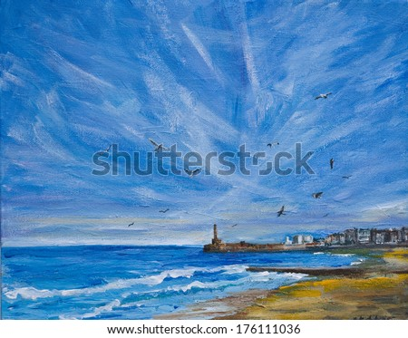 An original painting, illustration of sea,sky, lighthouse and harbour in Maragte kent UK. There are con trails in the large sky and seagulls and the beach is in the foreground. - stock photo