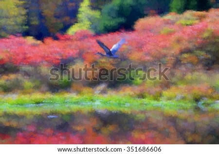 An original photograph of a blue heron in Autumn in the Poconos of Pennsylvania, transformed into a colorful pointillism style abstract painting