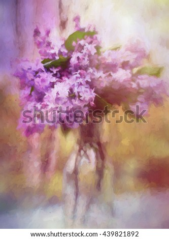 An original photograph of a bouquet of purple lilacs transformed into a colorful painting - stock photo