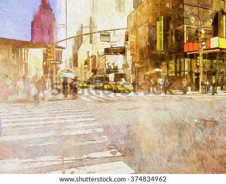 An original photograph of a busy Manhattan street corner transformed into a colorful painting