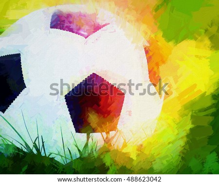 An original photograph of a soccer ball transformed into a colorful abstract digital painting