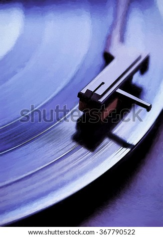 An original photograph of a spinning vinyl record turned into an colorful purple toned painting - stock photo