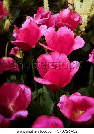 An original photograph of pink tulips transformed into a colorful painting - stock photo