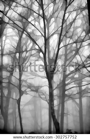 An original photograph of the fog filled woods in the Poconos of Pennsylvania transformed into a digital illustration - stock photo