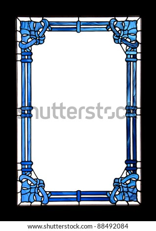 An ornate blue frame with white empty space and black border which actually has been a window. - stock photo
