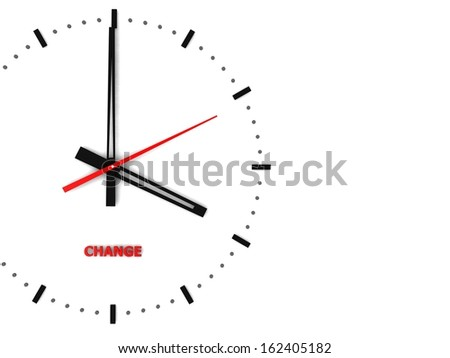 An ornate clock with the words Change on its face - stock photo