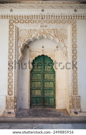 An ornate doorway in Jodhpur, Rajasthan, India - stock photo