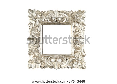 An ornate floral design square wooden frame painted in silver. Isolated on white with path. - stock photo