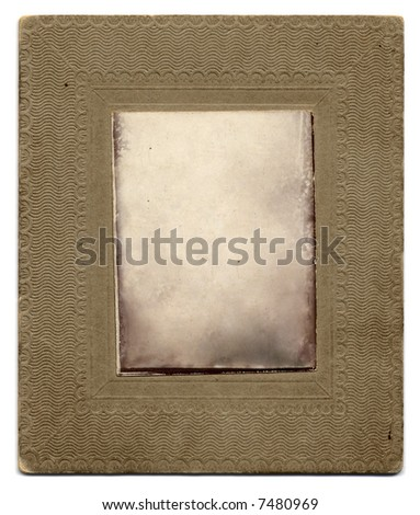 an ornate frame from a vintage photograph.  The image has been removed, leaving only the texture to allow the easy insertion of any photo using the multiply blend mode. - stock photo
