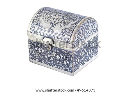 An ornately decorated silver casket