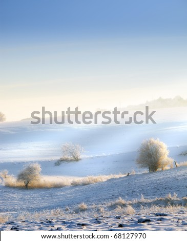 An outdoor photo of winter landscape beauty - stock photo