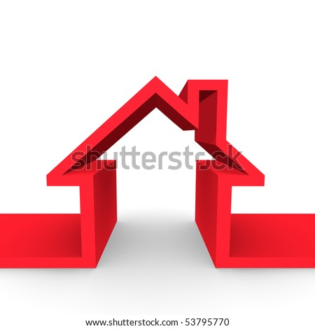 An outline of a family home. - stock photo