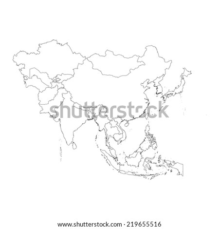 An Outline on clean background of the continent of Asia - stock photo