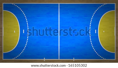 An overhead view of a handball court complete with markings. - stock photo