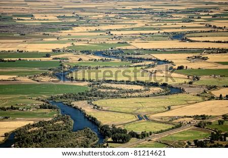 An overhead view of farmland. - stock photo