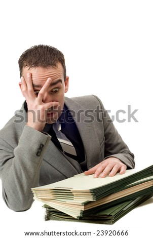 An overworked businessman looking stressed, isolated against a white background