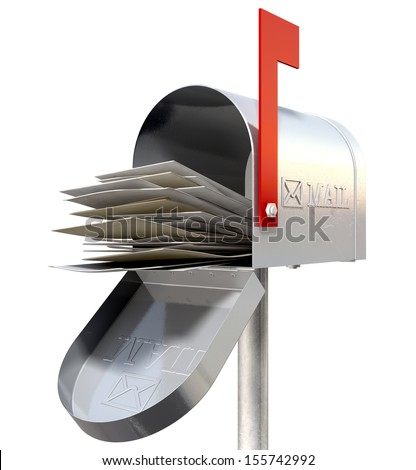 An perspective view of an open old school retro tin mailbox bulging with a pile of letters on an isolated background - stock photo