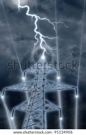 An photographic illustration of lightning hitting a high tension tower and sending energy coursing down the wires. - stock photo