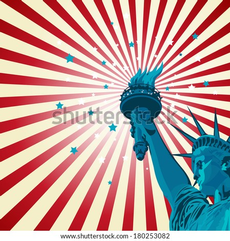 An radial poster with the Statue of Liberty. Raster version.   - stock photo