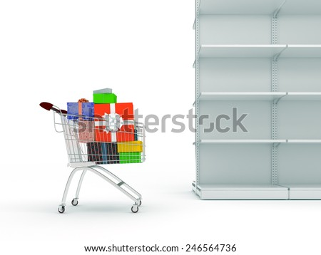 An  shopping cart with gifts boxes and end  empty shop shelves isolated on a white background - stock photo
