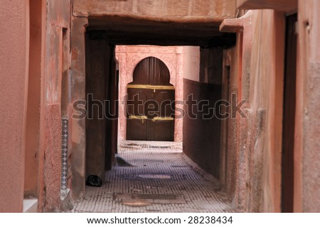 An small alley in the medina of Marrakech,Morocco