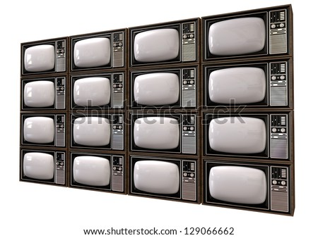 An stack of sixteen old vintage tube televisions with wood trim and chrome dials on an isolated background - stock photo