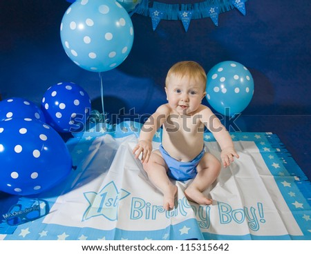 An sweet infant's first birthday celebration - stock photo