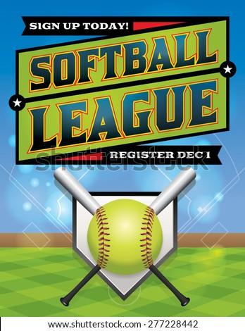 Vector illustration softball league flyer vector stock vector 237596938 shutterstock for Softball flyers templates