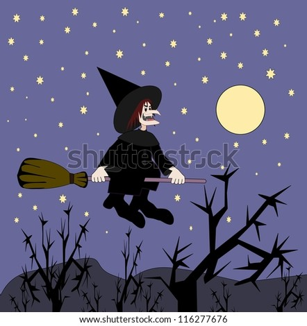An ugly witch flying on a broomstick.
