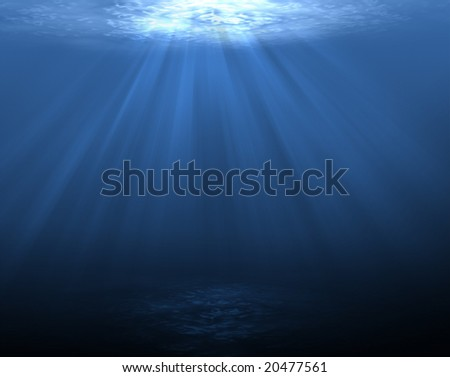 An underwater scene with sun rays shining through the water (dark and clean bottom) - stock photo