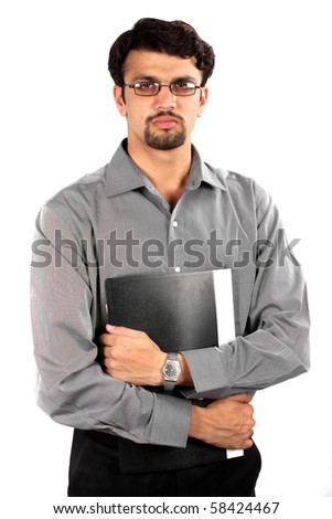 An unemployed Indian youth standing with a file waiting for a job interview, on white studio background. - stock photo