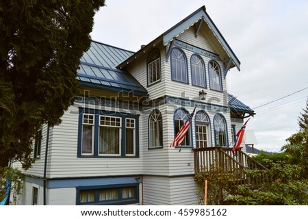 An unidentified old house decorating with Norwegian style paintings, Petersburg, ALASKA USA : 9 MAY 2016