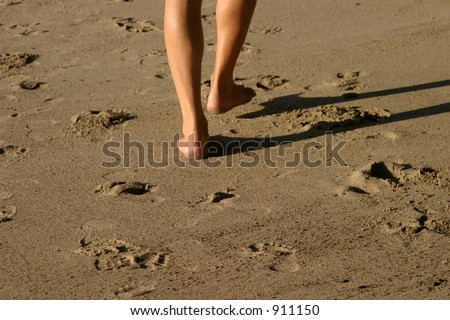 an unknown person walks along the beach in the soft sand leaving his or her foot prints