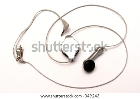 An unwind  retractable handsfree with clear background - stock photo
