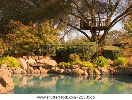 An Upscale Family Home with Landscaped Backyard and Pool - stock photo