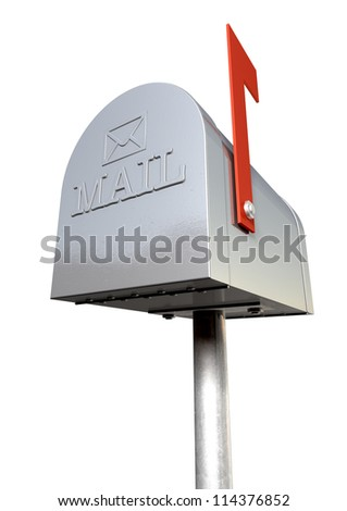 An upward view of an old school retro tin mailbox with a red flag pointing upward showing that mail is present and an embossed mail envelope sign on an isolated background - stock photo
